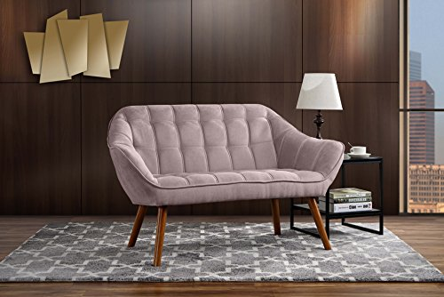 Couch for Living Room, Tufted Linen Fabric Love Seat (Pink) ()