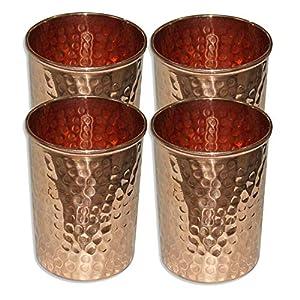 K K Traders Copper Hammered Tumbler Glass for Ayurvedic Health Benefits (Gold)-Set of 4