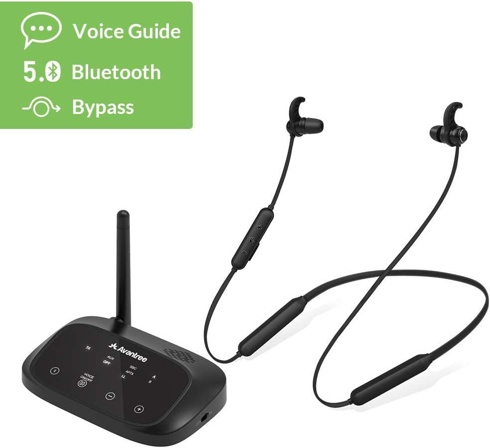 [ 2020 ] Avantree HT5006 Auriculares Inalámbricos para TV con Transmisor Bluetooth (Óptico, RCA, AUX), para Ver la TV con Auriculares y Altavoces con Cable Simultáneamente