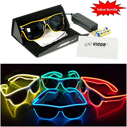 #1 LED Party Glasses Bundle for Party , Club , Rave , Concert , Birthday , Costume , Halloween , and Christmas use, by VIGOR the Ultimate in Light Up Glasses -