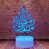 Ramadan Lights 3D Illusion LED Sleeping Night Lamp 16 Colors Change Eid Mubarak Ramadan Decor
