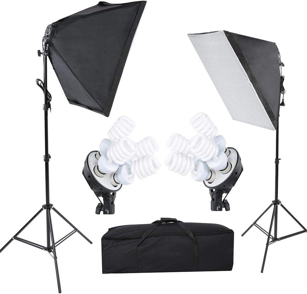 1 x Storage Bag 2 x 4 in 1 Lamp Holder 8 x 45W Light Bulb Asixx Photography Lamp Photography Lighting Kit Softbox Photography Lamp Bulb Kit with 2 x Adjustable 2m Light Stand 2 x 5070cm Softbox