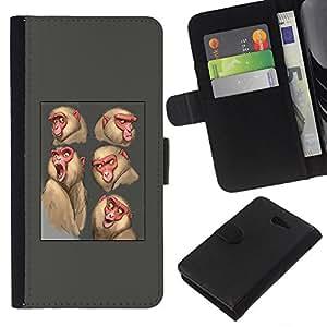 KLONGSHOP // Tirón de la caja Cartera de cuero con ranuras para tarjetas - mono mono boceto dibujo gris animales - Sony Xperia M2 //