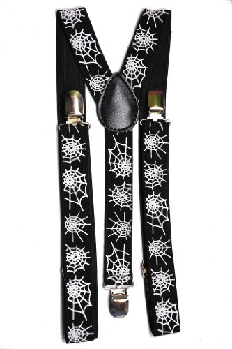 AJ Accessories Youth Spiderweb Suspenders -Black and White-Youth One Size