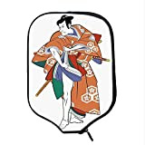 YOLIYANA Kabuki Mask Decoration Durable Racket Cover,Kabuki Actor with Traditional Costume Historic Edo Era Drama Culture Decorative for Sandbeach,One Size