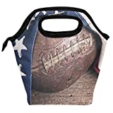 Wamika Vintage Leather Football Lunch Bag Insulated Freezable Retro American Flag Lunch Tote Cooler Handbag Lunch Box for Women Men Picnic Travel Portable Lunch Kit Reusable
