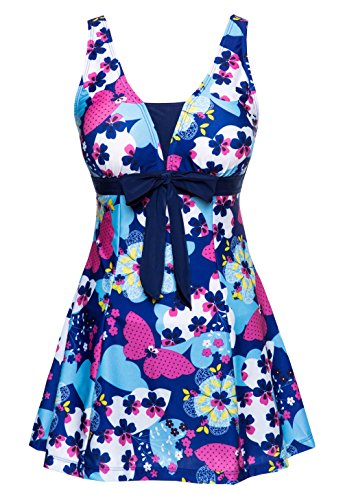 Wantdo Women's Big Size Holiday Celebrate Swimwear Beach Wear Dress Swimsuit, US 8-10/Tag 5XL  , BrilliantBlue