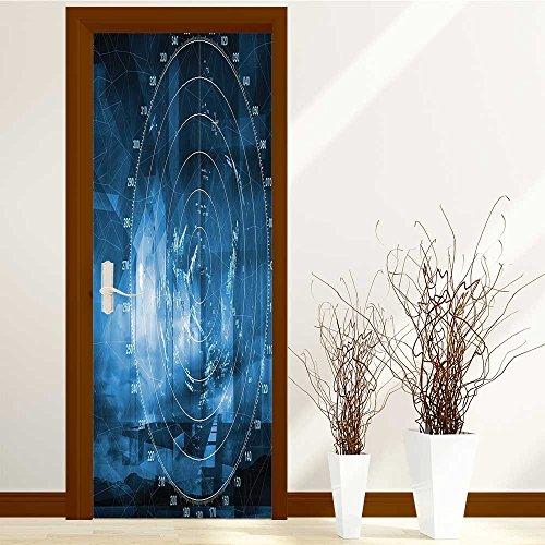 aolankaili 3D Door Wall Mural Wallpaper Stickers-2 Pcs Platform 9 34 Door Self-adhesive PVC Removable Waterproof Art Door Decals 30x79 inch(Ship with Radar Exposure in the Screen Digita (Radar Screen)