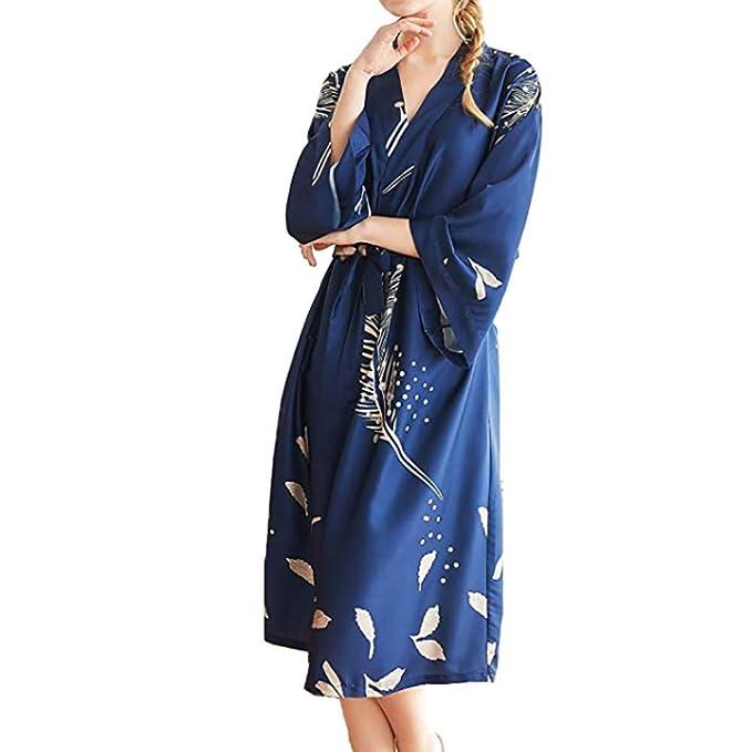 Gywttg Bata estilo kimono, traje de noche de dama de honor de bata ...