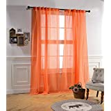 Mysky Home Back Tab And Rod Pocket Window Crushed Voile Sheer Curtains For  Office Room, Orange, 51 X 84 Inch, Set Of 2 Crinkle Sheer Curtain Panels