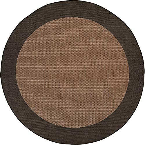Couristan 1005/2500 Recife Checkered Field Cocoa/Black Rug, 7-Feet 6-Inch Round