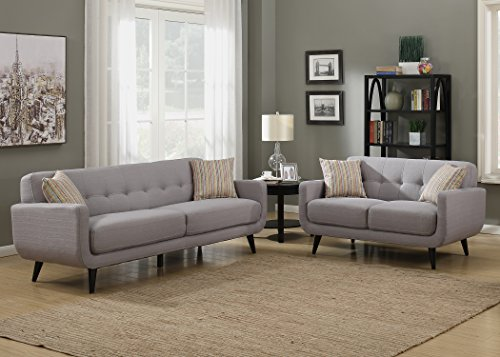 AC Pacific Crystal Collection Upholstered Gray Mid-Century 2-Piece Living Room Set with Tufted Sofa and Loveseat and 4 Accent Pillows, (Set Upholstered Loveseat)