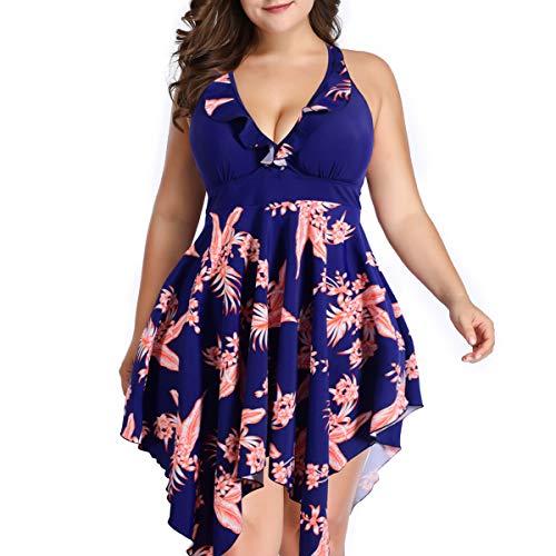 Begonia.K Women's Plus Size Floral Halter Swimdress Two Pieces Tankini Swimwear (Blue Print, 5X-Large) ()