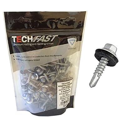 100 x TechFast Screws for Roofing & Cladding Self Drill Tech Hex Head 5.5 x 32mm