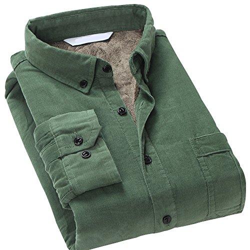 Trendy XU Vintage Cotton Corduroy Long-Sleeved Warm Shirt Slim Fit Fur Lined Shirt (Green, M)
