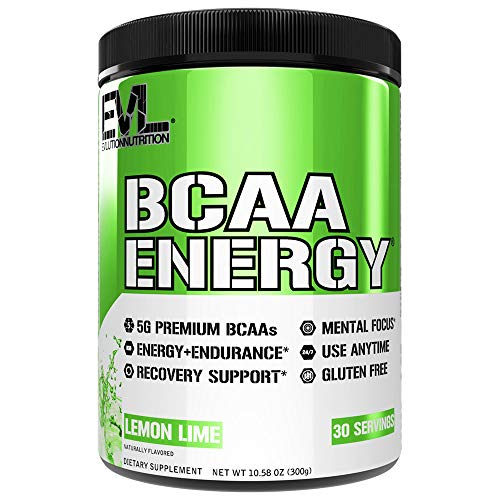 Evlution Nutrition BCAA Energy - Essential BCAA Amino Acids, Vitamin C, Natural Energizers for Performance, Immune Support, Muscle Building, Recovery, B Vitamins, Pre Workout, 30 Serve, Lemon Lime