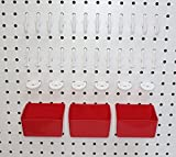 Peg Hook Kit 34 Piece 12 J Hooks & 12 L Hook & 6 Tool Holders & 04 Small Plastic Bins -Free Shipping Peg Board Storage System