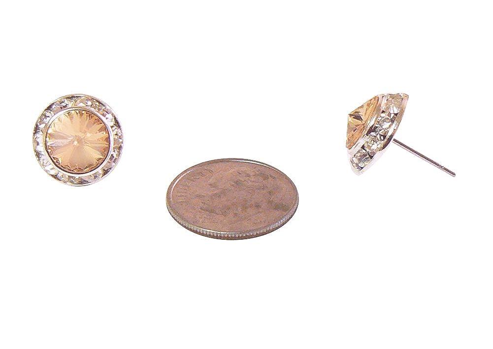 Aurora Round Peach Rivoli Cut Rhinestone Earrings Clear Rhinestone Border Silver-Tone .5 Inch Wide