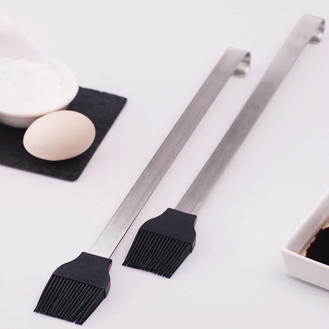 Mantequilla y Aceite, 35 * 4 * 3cm Cepillo para Hornear del Acero Inoxidable Cabeza del Cepillo del Silic/ón,Puede ser Utilizado para Pan White Deer Pincel de Cocina