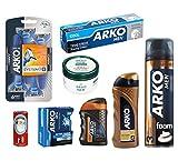 Arko Shaving Set (Maximum Comfort Shaving-Foam, Cool Shaving Cream, Max Comfort Balm, Gold Power Cologne, Cool Lotion, Pearl Cream, Shave Soap, Razor)