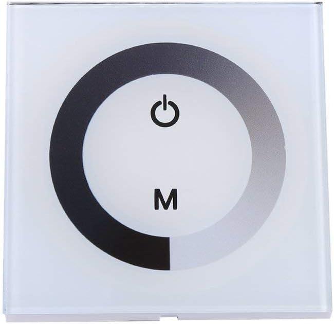 DC12-24V Panel De Control Táctil De Pared Panel De Control LED Interruptor De Regulador Cambio De Brillo Para La Luz De Tira LED (Color : White)