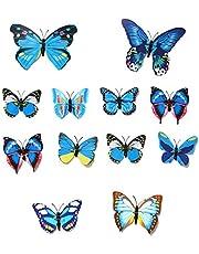 SMXGF 12st 3D PVC muurstickers Magneet van de vlinder 3D Wallpaper Decor van het Huis Wall Stickers 3D Wallpapers for de woonkamer (Color : Blue)
