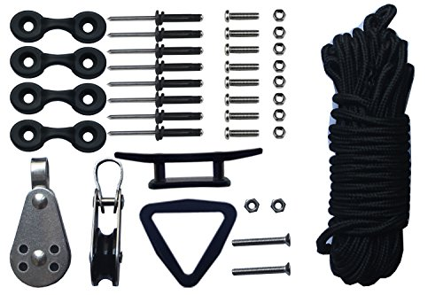 Kayak Canoes Anchor Trolley Kit System w/ Pulleys Pad Eye Cleats Ring 30 Feet of Rope