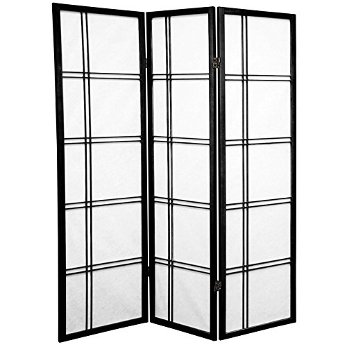 Oriental Furniture 5 ft. Tall Double Cross Shoji Screen - Black - 3 Panels (Shoji Screen Wood)