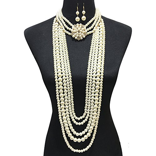 Fashion 21 Women's Chunky Multi-Strand Simulated Pearl Statement Necklace and Earrings Set in Cream Color (Cream - Style -
