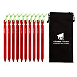 GEERTOP 7-in Lightweight Aluminum Tent Peg Stakes with Reflective Pull Cord & Pouch for Outdoor Camping - Pack of 10