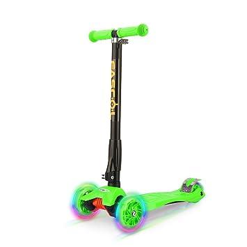 Fascol Scooter Plegable de 3 Ruedas para Niños de 3 - 12 Años, con Protector de Rodilla y el Codo, Rueda Brillante, Patinete para Niños, Verde