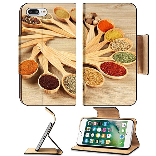 Luxlady Premium Apple iPhone 7 Plus Flip Pu Leather Wallet Case iPhone 7 Plus 21649227 Assortment of spices in wooden spoons on wooden background -