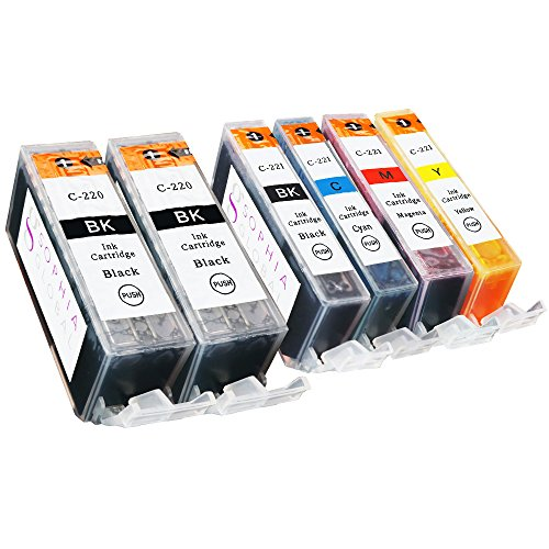 Sophia Global Compatible Ink Cartridge Replacement for Canon PGI-220 and CLI-221 (2 Large Black, 1 Small Black, 1 Cyan, 1 Magenta, and 1 Yellow)