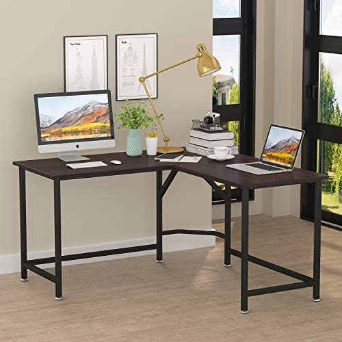 ZIOCCEH Computer Desk 55 x 55 with 24 Deep L-Shaped Desk Corner Workstation Walnut Black Leg