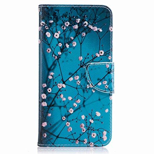 Yiizy Huawei P10 Plus Custodia Cover, Fiore Plum Design Sottile Flip Portafoglio PU Pelle Cuoio Copertura Shell Case Slot Schede Cavalletto Stile Libro Bumper Protettivo Borsa