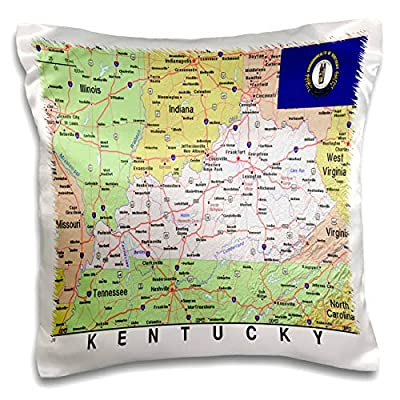 3dRose Lens Art by Florene - Topo Maps, Flags of States - Image of Topographic Map of Kentucky with State Flag - Pillow Case