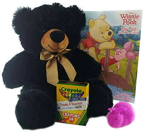 Plush Stuffed Black Bear with Winnie The Pooh Coloring Book & Crayons | Easter Kids Gift Bundle (Baby Winnie The Pooh And Friends Coloring Pages)