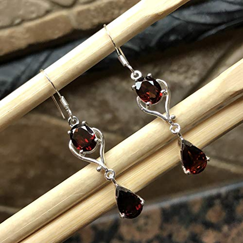 Natural 4ct Pyrope Garnet 925 Solid Sterling Silver Dangle Earrings 30mm Long