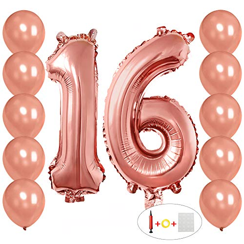 40 inch Mylar Foil Balloons Number 16 Rose Gold with 10 Rosegold Latex Balloons and Bonus String for Happy Birthday Party Supplies+ Handheld Air Pumps