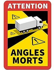 """STROBO 6 sztuk naklejek z napisem """"Attention Angles Morts"""" do samochodów ciężarowych i przyczep kempingowych, 25 x 17 cm, znak informacyjny Francja z ochroną przed promieniowaniem UV, specjalnie do użytku na zewnątrz"""