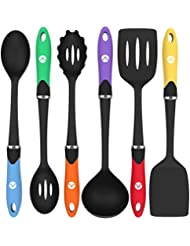 Vremi Cooking Utensils - Kitchen Utensil Set Tools for Nonstick Cookware with Spatula Turner Ladle Pasta Server in BPA Free Dishwasher Safe Heat Resistant Nylon - Black Multi Color