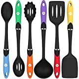 nylon cookware utensils - Vremi Cooking Utensils - Kitchen Utensil Set Tools for Nonstick Cookware with Spatula Turner Ladle Pasta Server in BPA Free Dishwasher Safe Heat Resistant Nylon - Black Multi Color