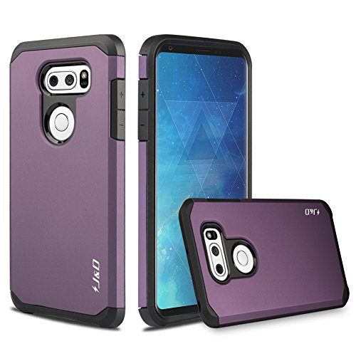 J&D Case Compatible for LG V35 Case, LG V35 ThinQ/LG V30S/LG V30S ThinQ/LG V30/LG V30 Plus Case, Heavy Duty [Dual Layer] Hybrid Shock Proof Protective Rugged Bumper Case for LG V35 Case - Purple
