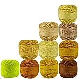 Set 10 Pcs Shades of Yellow Cotton Crochet Thread Knitting Handicrafter Balls Yarn Cross Stitch Tatting Doilies Skeins Lacey Craft