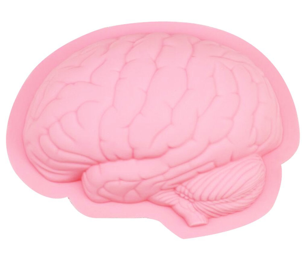 Yatim DIY Human Brain Shape Silicone Baking Mold for Homemade Soap, Cake, Cupcake, Bread, Muffin, Pudding, Jello, Bread, Cheesecake, Cornbread, Biscuit Yatim-Human-Brain