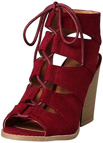 Qupid Women's Barnes-01A Cutout Peep Toe Sandal
