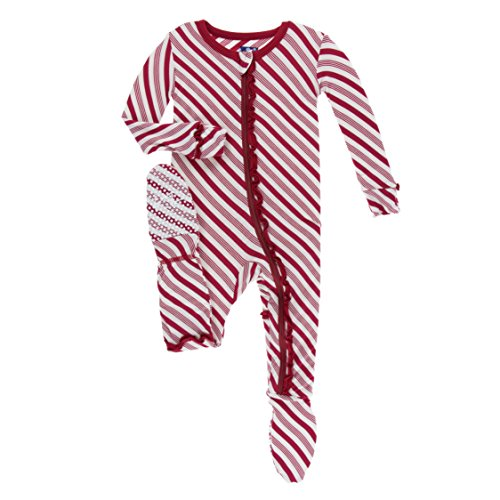 - Kickee Pants Print Muffin Ruffle Footie with Zipper Crimson Candy Cane Stripe (3T)