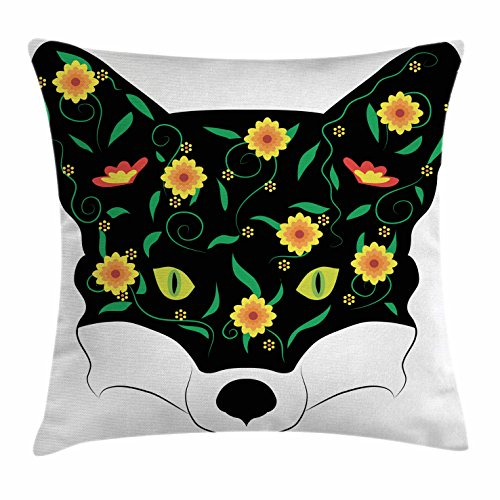Twig Deck (Ambesonne Fox Throw Pillow Cushion Cover, Artistic Fox Portrait Face with Summer Meadow Flowers Swirled Twigs Pattern, Decorative Square Accent Pillow Case, 28 X 28 Inches, Black Yellow Green)