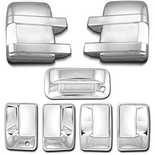- AutoModZone Chrome ABS 4 Door Handle Cover without PSG Keyhole + Tailgate Cover with Keyhole + Full Mirror Cover Combo for 08-16 Ford F-250