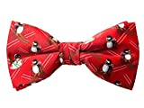 Spring Notion Men's Printed Microfiber Christmas Theme Pretied Bow Tie, Red Skiing Penguin